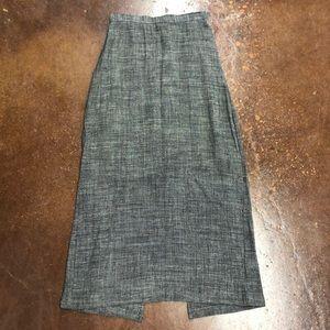 Eileen Fisher Long Linen Blend Skirt Rear Slit